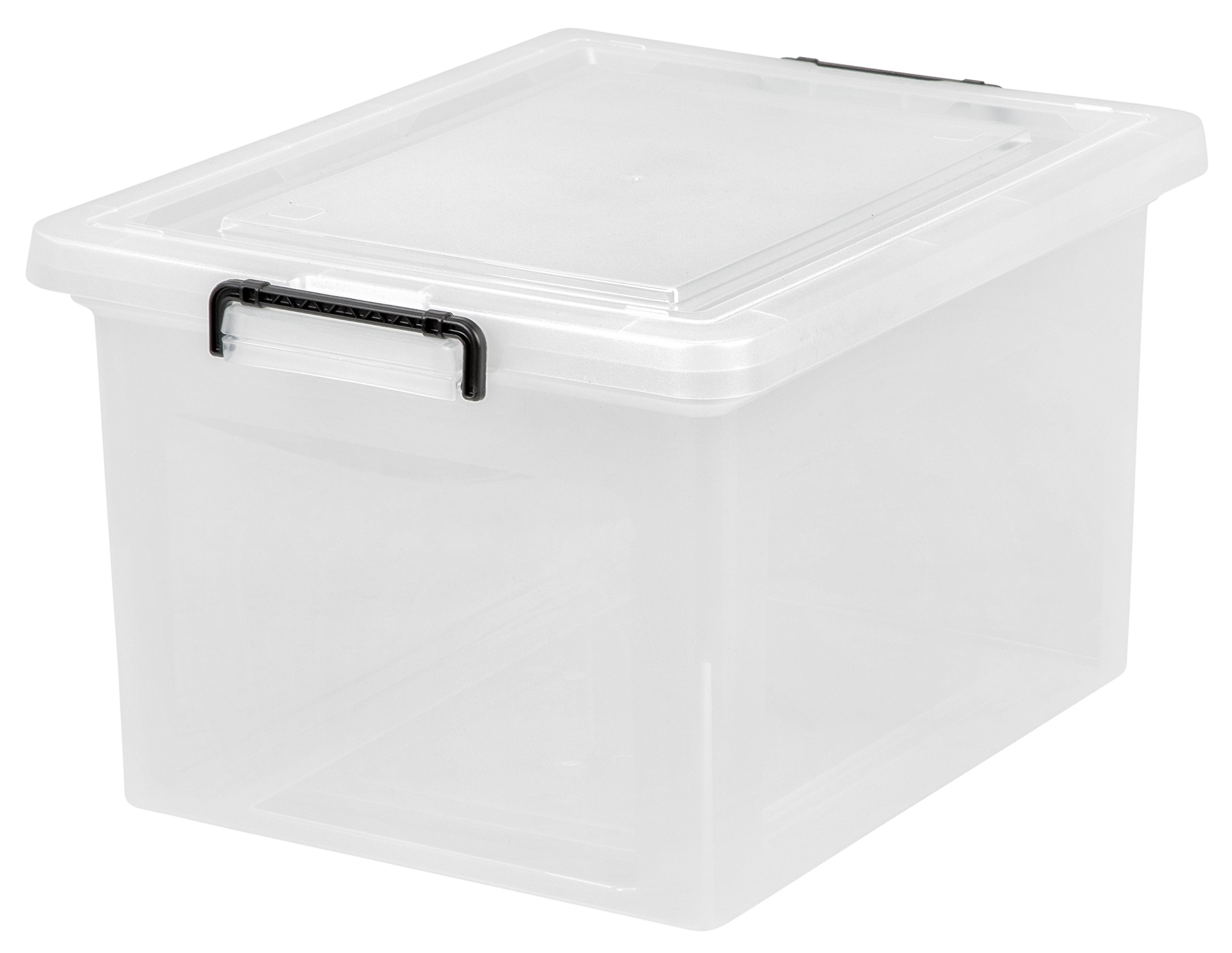 IRIS Letter and Legal Size File Box with Buckle, Clear