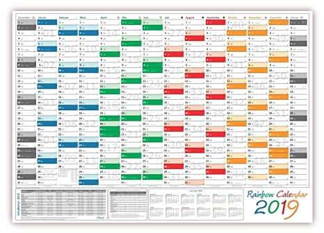 Calendario Festivita Germania 2020.Rainbow Calendario Da Muro Parete Planer 2019 Arrotolato