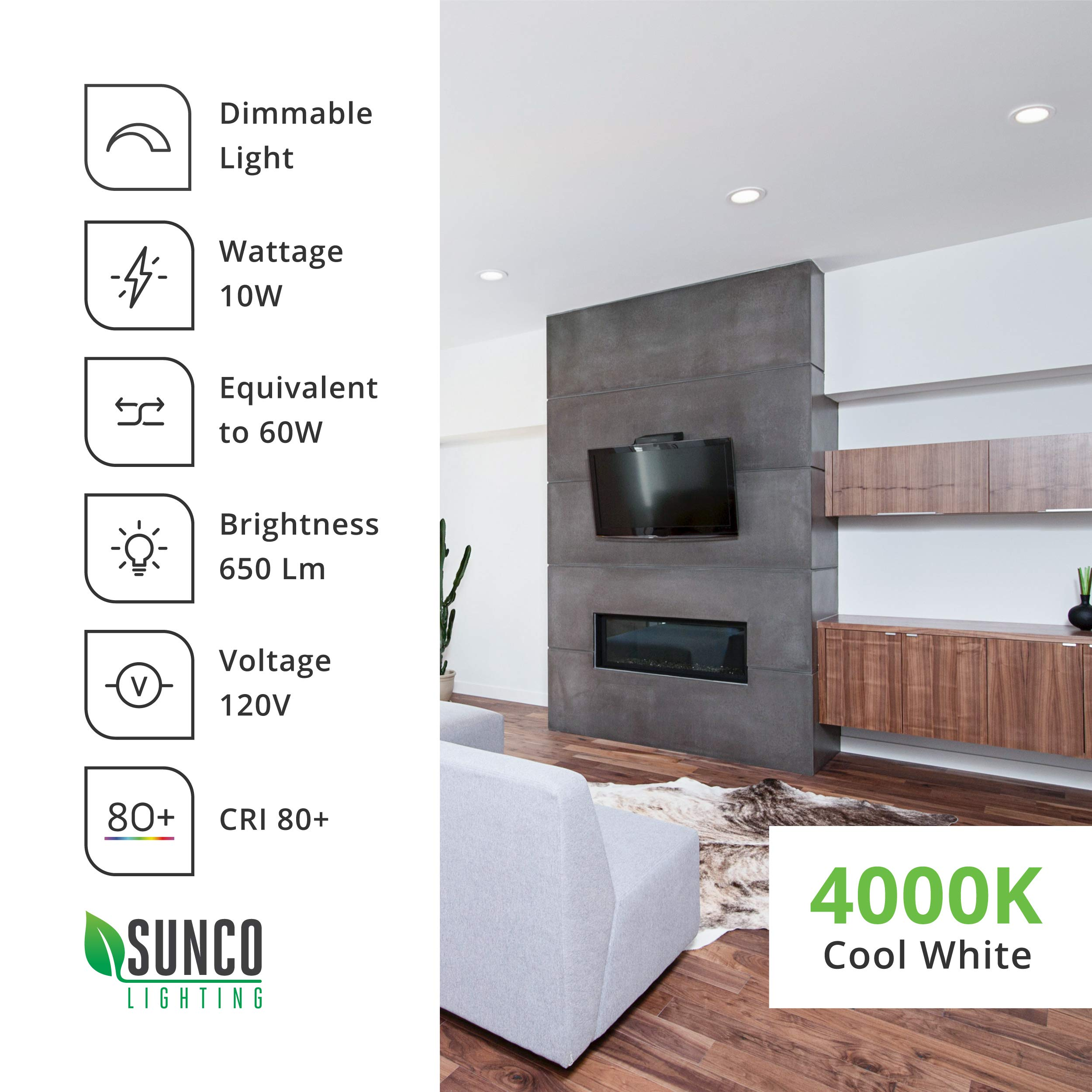 Sunco Lighting 12 Pack 4 Inch Slim LED Downlight with Junction Box,10W=60W, 650 LM, Dimmable, 4000K Cool White, Recessed Jbox Fixture, Simple Retrofit Installation - ETL & Energy Star by Sunco Lighting (Image #9)
