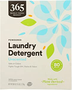 365 by Whole Foods Market, Powdered Laundry Detergent (80 HE Loads), Unscented, 80 Ounce