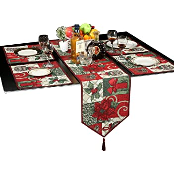 Christmas Decorative Table Runner And Placemats, Letool Red Poinsettia  Christmas Flower Cotton Soft Table Runner