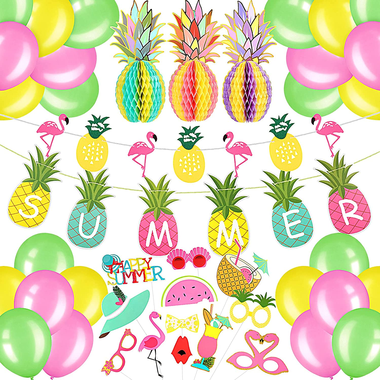 46 Pieces Summer Party Decoration Hawaiian Party Decoration Set Pineapple Flamingo Banner Flamingo Summer Photo Booth Props Colorful Party Balloons for Hawaiian Luau Beach Birthday Wedding Decor