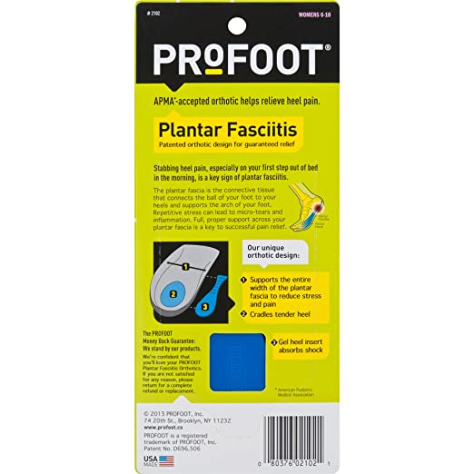 297ed5e316 Amazon.com: ProFoot Orthotic Insoles for Plantar Fasciitis & Heel Pain,  Women's 6-10, 1 Pair: Health & Personal Care