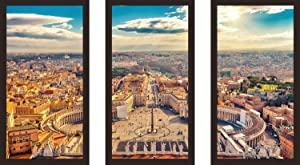 Picture Perfect International Saint Peter's Square in Vatican, Rome Framed Plexiglass Wall Art Set of 3