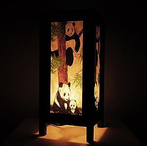 Thai Asian Vintage Handmade Thailand Handcraft Family Lovely Panda Bear Wood Table Lamp Lighting Oriental Design home decor Panda Bear ( YUI )