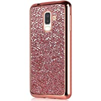PHEZEN Galaxy J8 2018 Case Luxury Glitter Sparkle Bling Case, Electroplated Soft Flexible TPU Bumper Crystal Diamond Protective Back Case Cover For Samsung Galaxy J8 2018, Rose Gold
