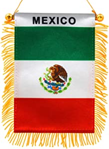 Anley 4 X 6 Inch Mexico Window Hanging Flag - Rearview Mirror & Double Sided - Fringed Mexican Mini Banner with Suction Cup