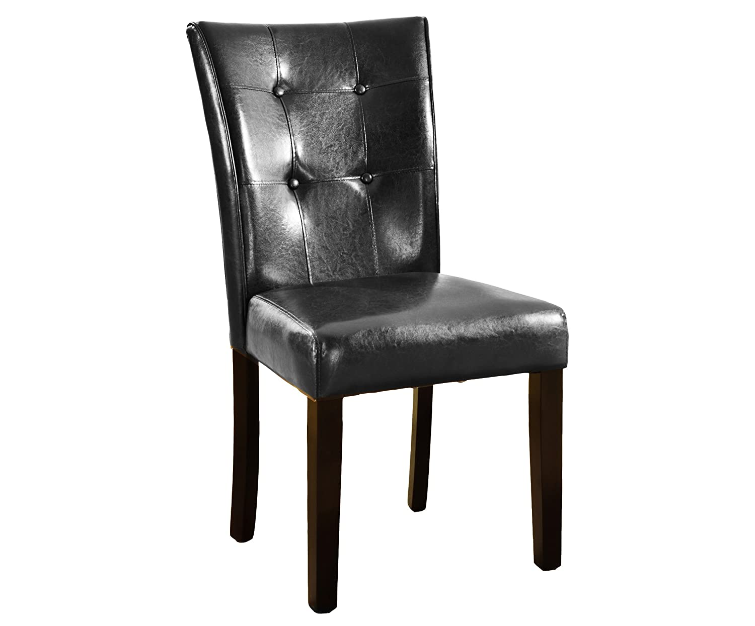 Amazon.com   Roundhill Furniture Blended Leather Parson Dining Side Chairs  With Espresso Legs, Black, Set Of 2   Chairs