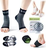Plantar Fasciitis Relief & Recovery Kit - 9 Pieces - Foot Care Compression Sleeves, Silicone Heel Protectors, Massage Ball, Cushioned Arch Supports & Inserts –Pain Relief & Increase Circulation