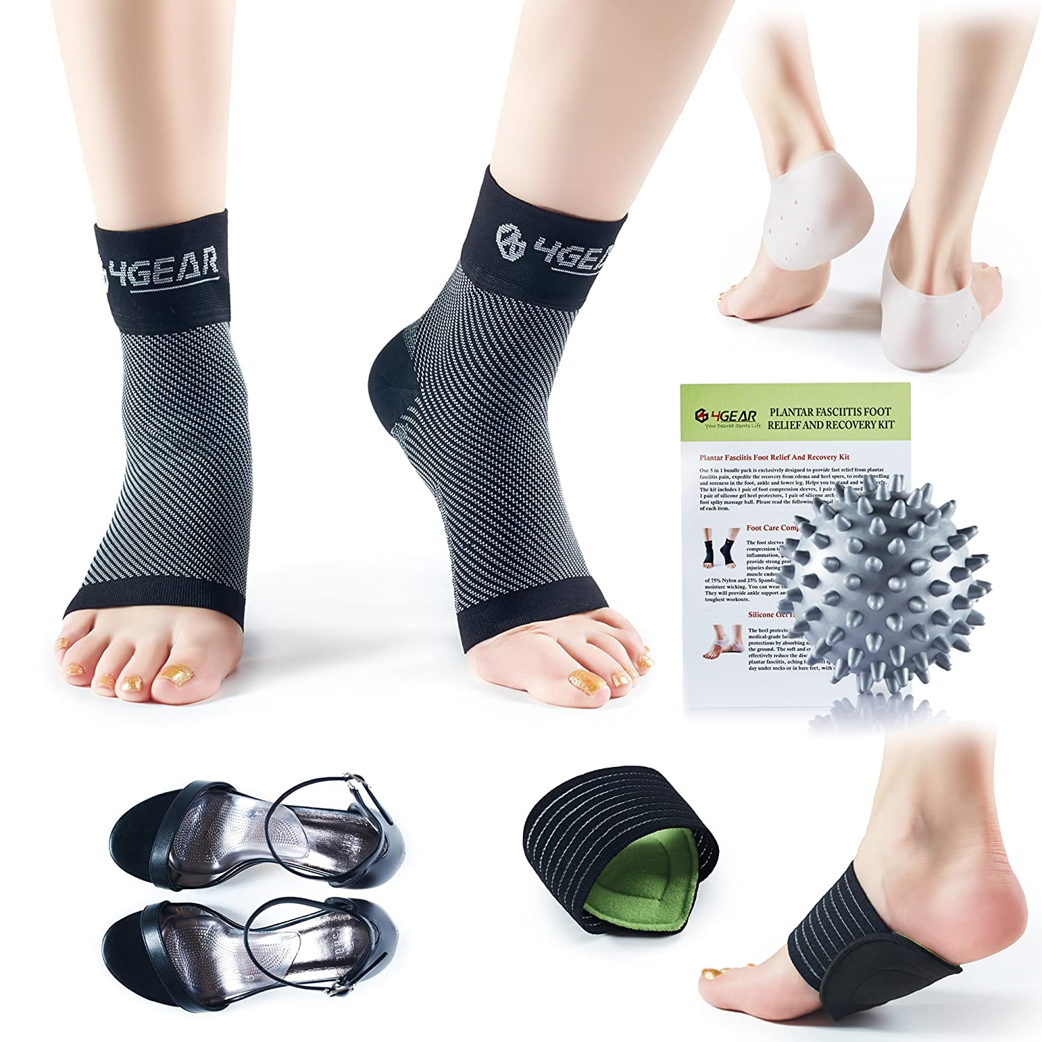 c70bea39d039 Plantar Fasciitis Relief   Recovery Kit - 9 Pieces - Foot Care Compression  Sleeves