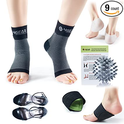 99ec1bb283 4GEAR Plantar Fasciitis Pain Relief Recovery Kit – 9 Pack- Foot Compression  Sleeves, Heel
