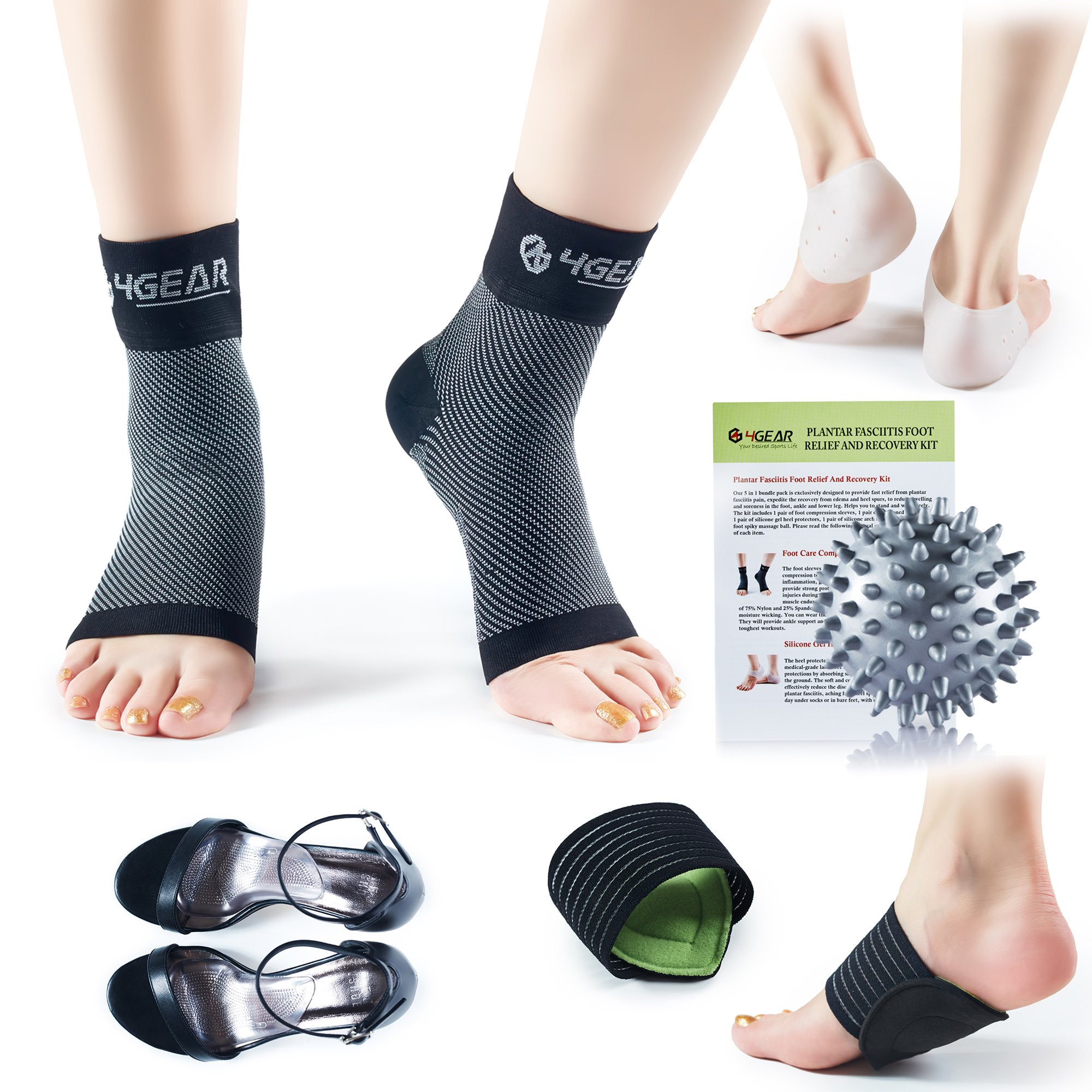4GEAR Plantar Fasciitis Pain Relief Recovery Kit - 9 PCs - Foot Compression Sleeves, Heel Protectors, Cushioned Arch Support Wraps & Inserts, Foot Massage Ball- Instruction Guide Included (L/XL)