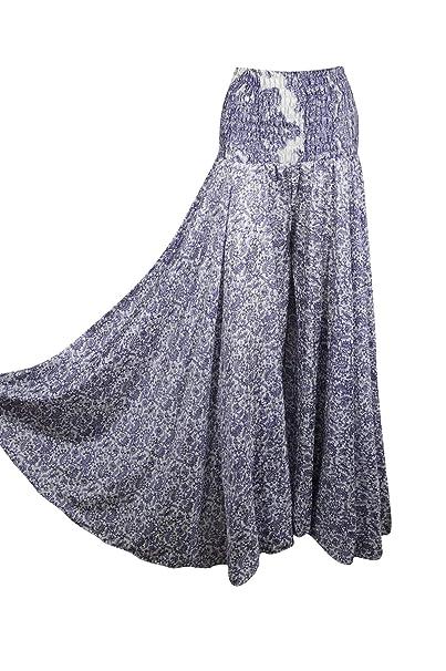 4e968e1fc1 Mogul Interior Womens Blue Maxi Skirt Palazzo Pants Printed Hippie Bohemian Maxi  Skirt S/M at Amazon Women's Clothing store: