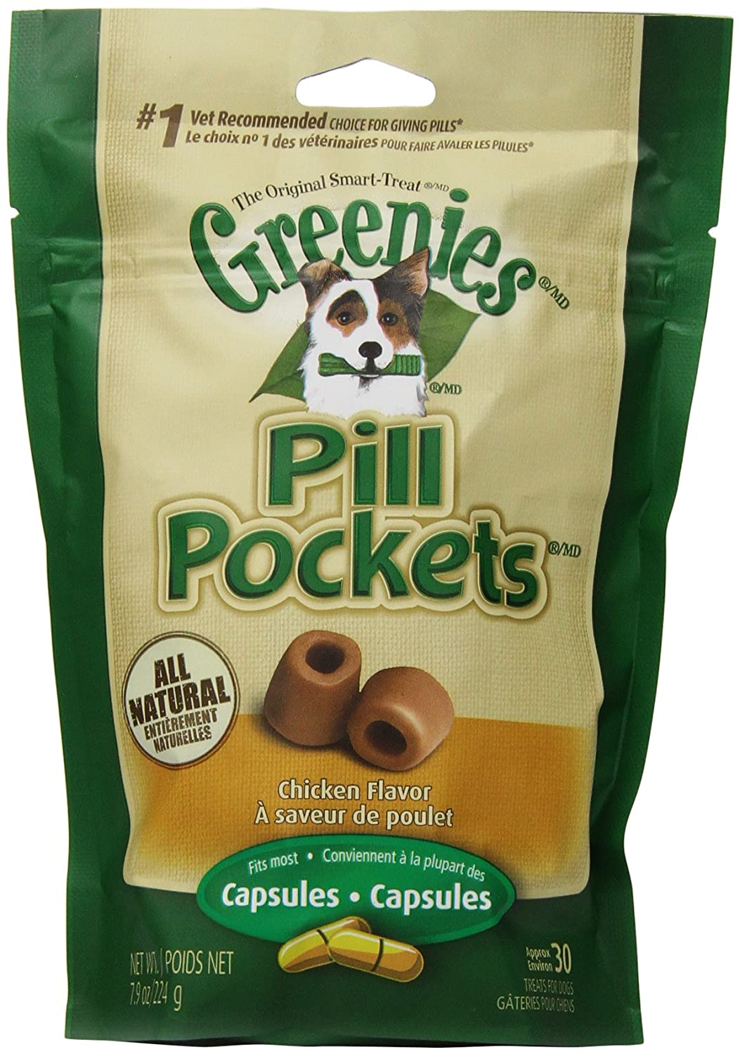 GREENIES 6-Pack Pill Pockets for Dogs, Chicken Flavor – 7.9-Ounce