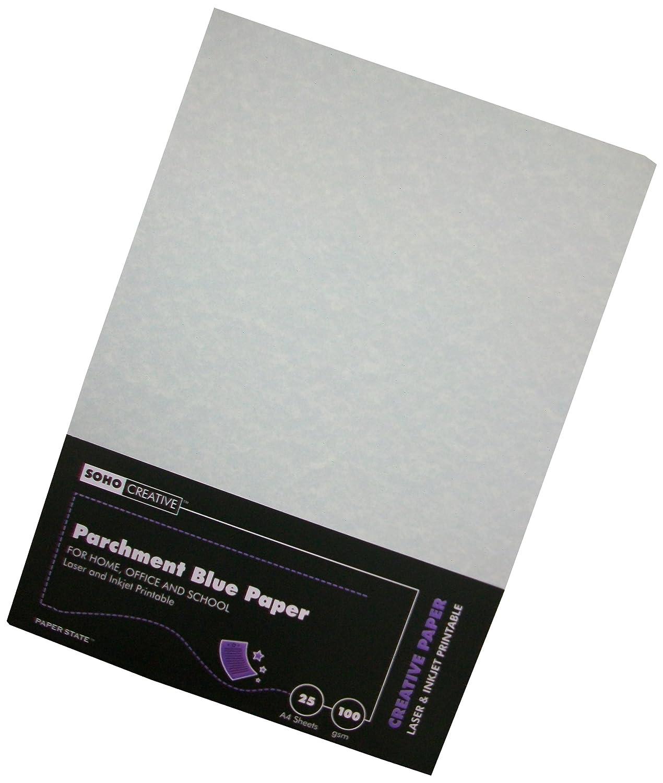 Paper State - Risma di 25 fogli di carta pergamena, 100 g/m², colore: Blu WP0047
