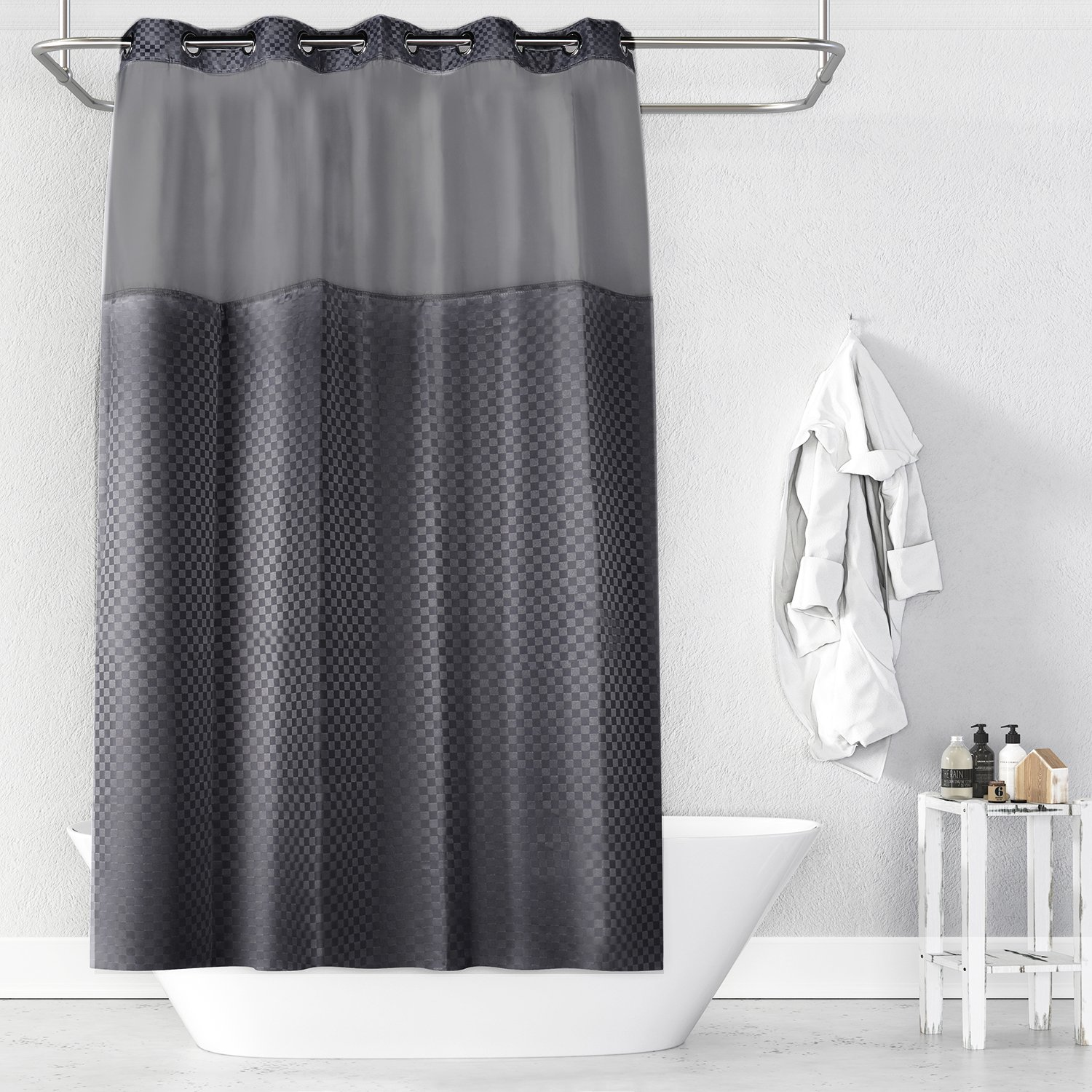 Details About Lagute SnapHook Hookless Shower Curtain W Snap In Liner