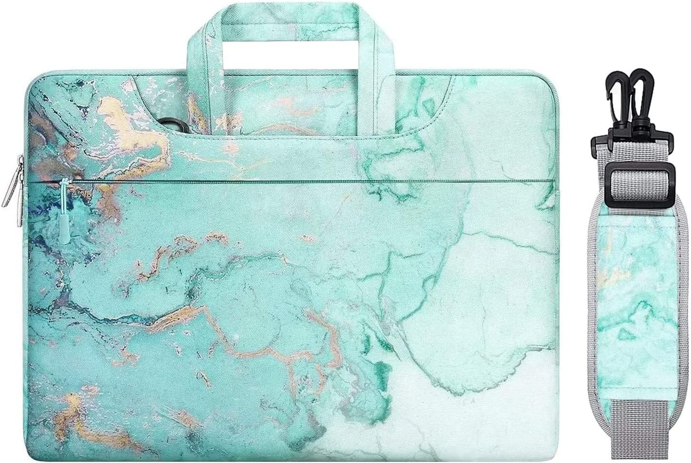 MOSISO Laptop Shoulder Bag Compatible with 2019 MacBook Pro 16 inch A2141, 15 15.4 15.6 inch Dell Lenovo HP Asus Acer Samsung Chromebook,Polyester Watercolor Marble Carrying Briefcase Sleeve, Green