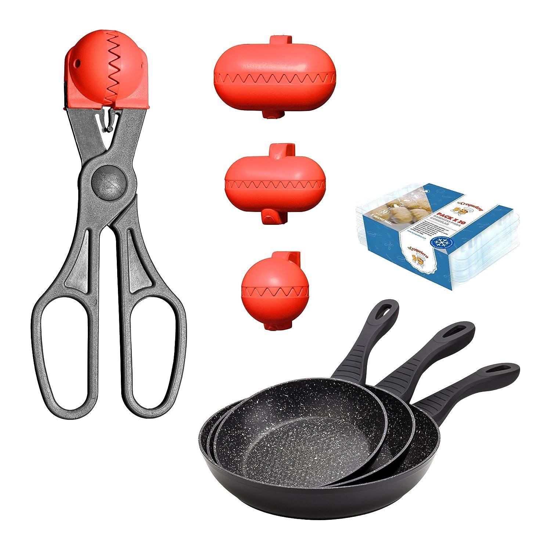Set 3 sartenes NEON BLACK - aluminio forjado - inducción y Set de utensilios LA CROQUETERA: utensilio multiusos y set 20 bandejas