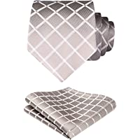 """Hisdern Mens Extra Long Tie + Pocket Square Set Checked and Polka Dot Pattern Neck Ties for Men (63""""/160cm Length/XL Size)"""