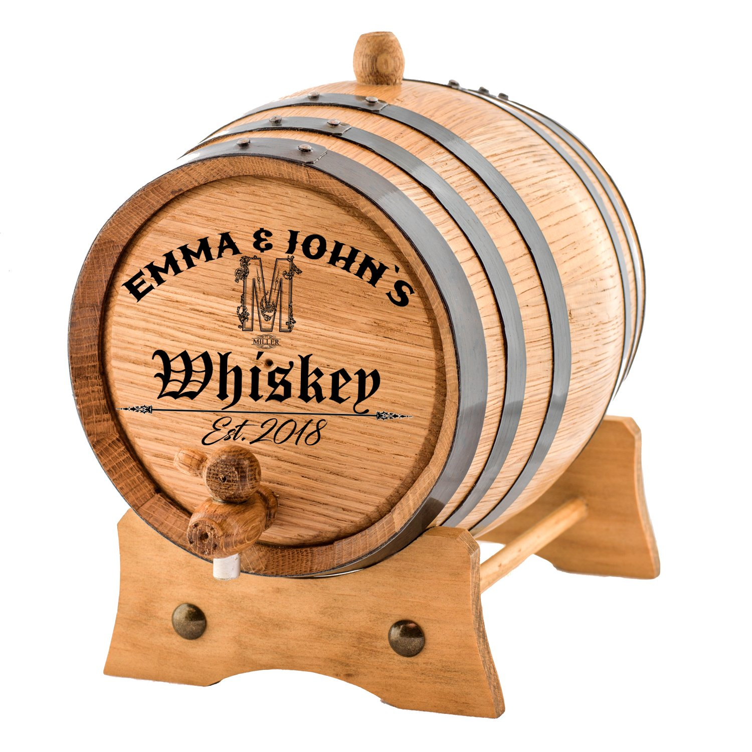 Personalized - Customized American White Oak Aging Barrel - Vintage Alphabet (20 Liters)