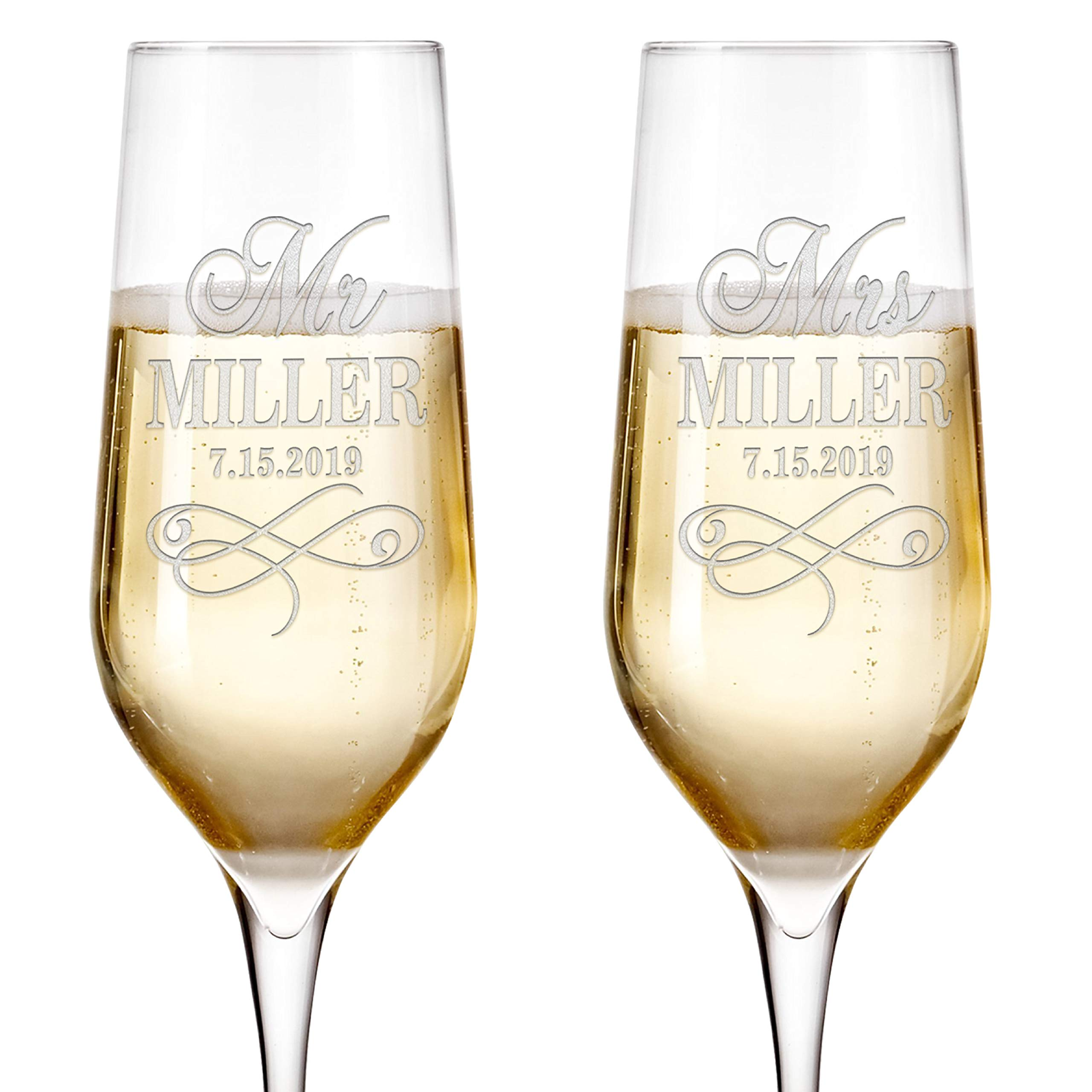Set of 2, Personalized Mr Mrs Wedding Champagne Flutes - Bride and Groom Champagne Glasses w/ Last Name and Date, Custom Engraved Mr and Mrs Champagne Glass | Wedding Toasting Glasses #3 by United Craft Supplies