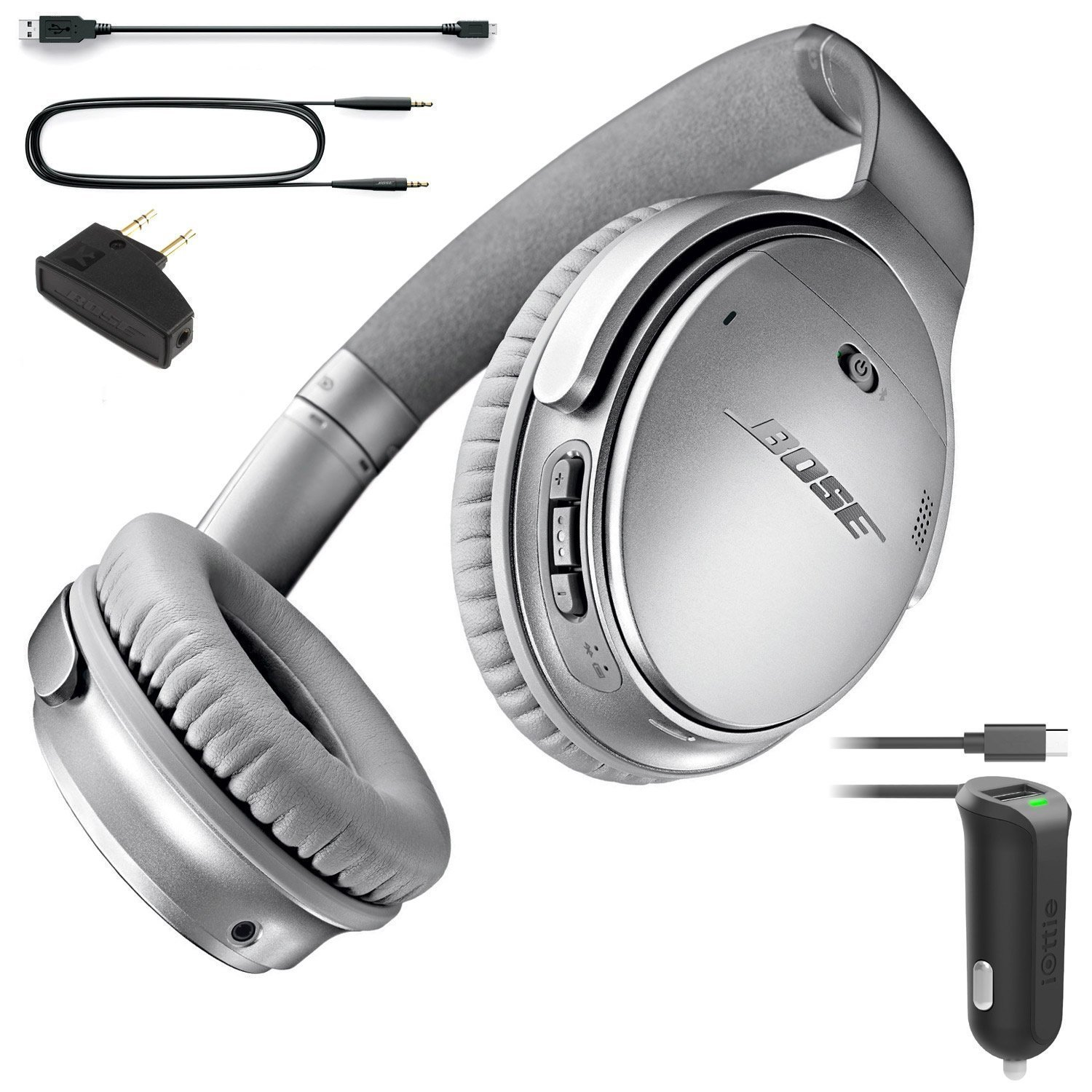 Bose QuietComfort 35 (Series I) Bluetooth Wireless Noise Cancelling Headphones - Silver & Car Charger - Bundle by Bose