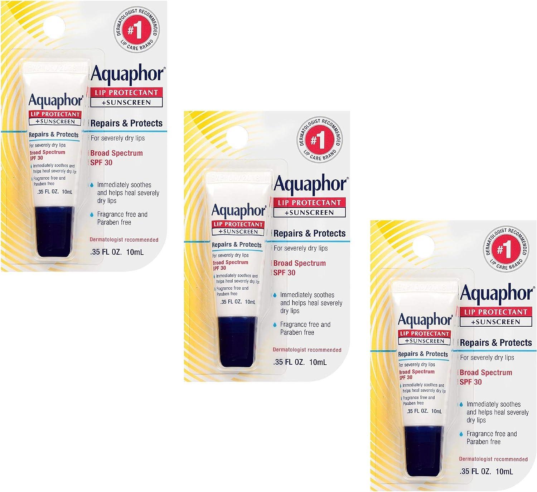 Aquaphor Lip Repair + Protect Lip Balm Sunscreen UVA/UVB SPF30, 0.35 oz (Pack of 3)