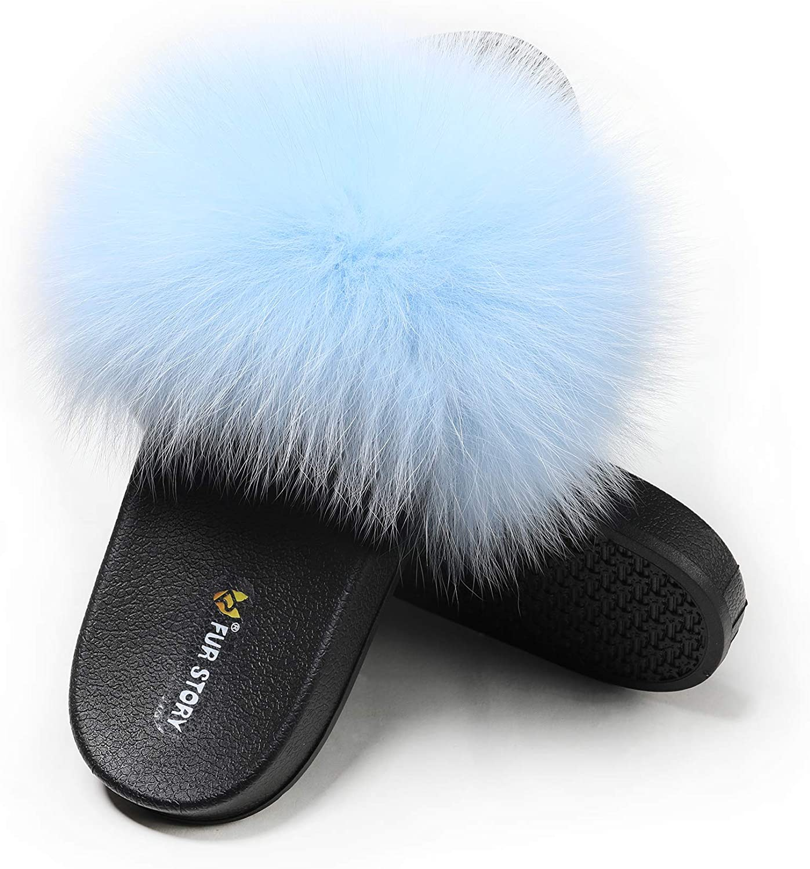 Fur Story Womens Fox Fur Slides Furry Slide Sandals Summer Fur Slippers
