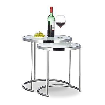 Relaxdays Tables Gigognes Rondes Cadre Chromé Lot De 2 Design