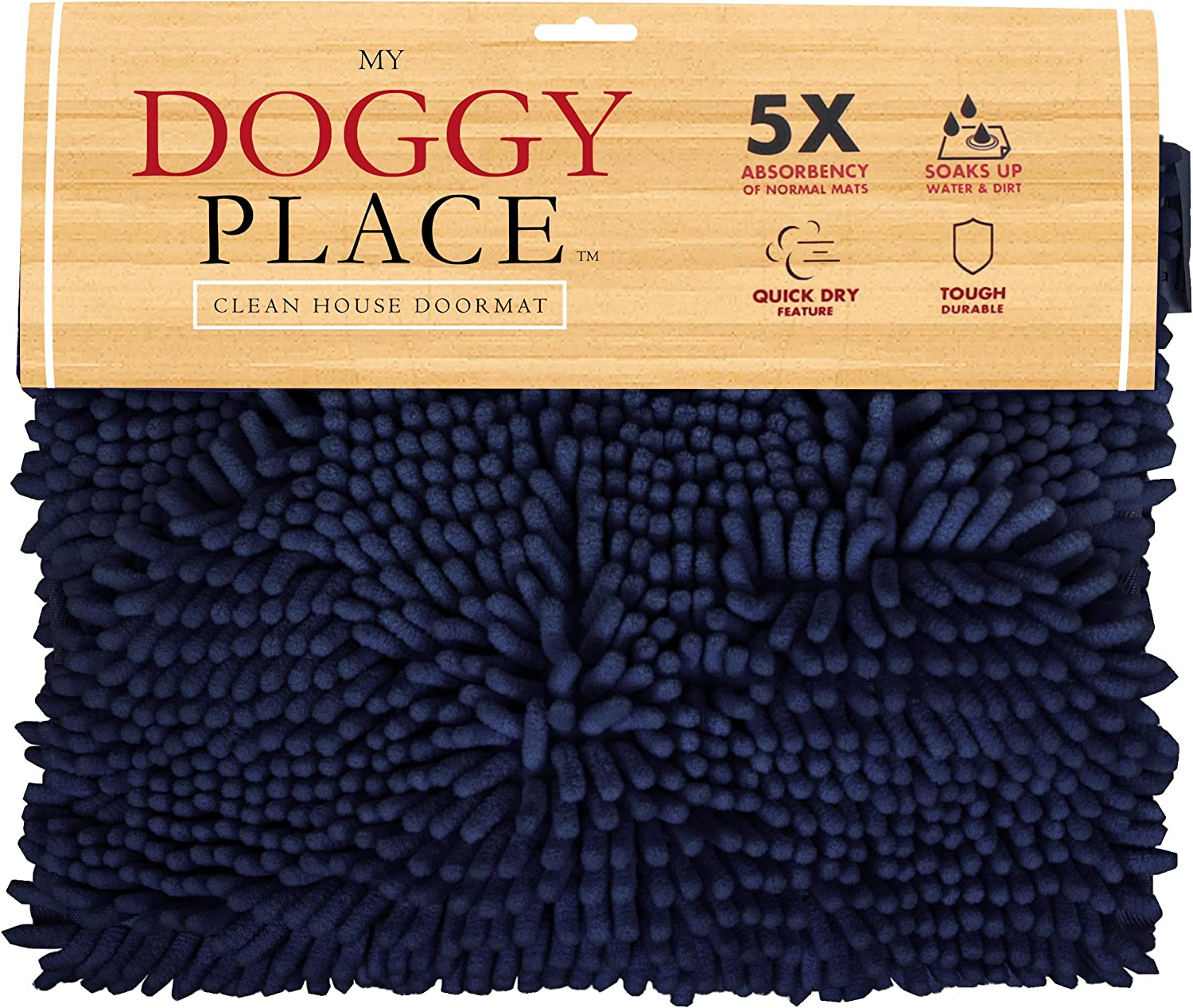 My Doggy Place - Ultra Absorbent Microfiber Chenille Dog Bath Shammy Dry Towel with Hand Pockets, Durable, Quick Drying, Washable, Prevent Mud Dirt