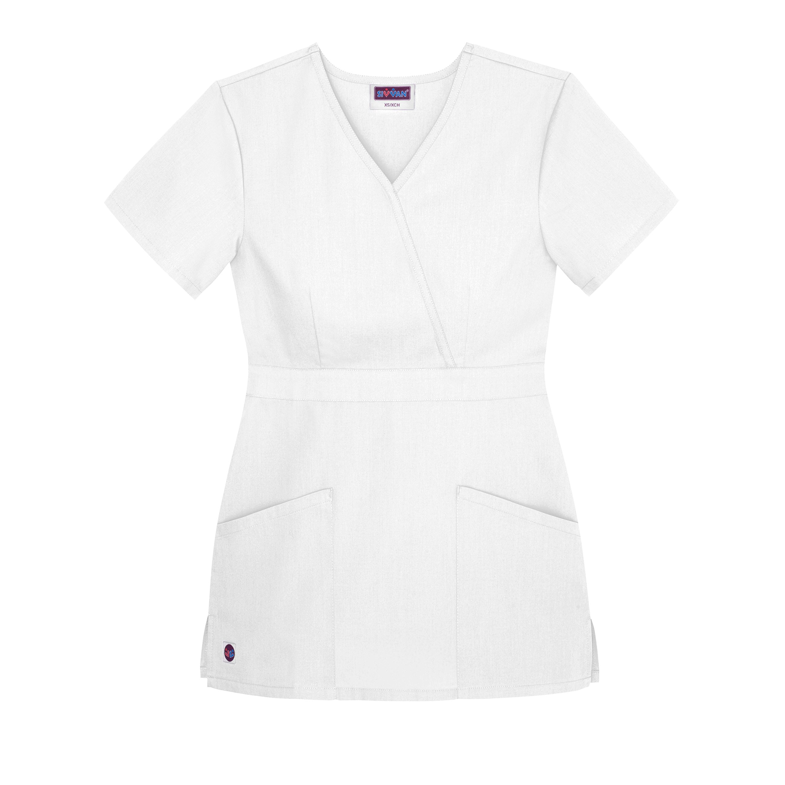 Sivvan Women's Scrubs Mock Wrap Top (Available in 12 Colors) - S8302 - White - L