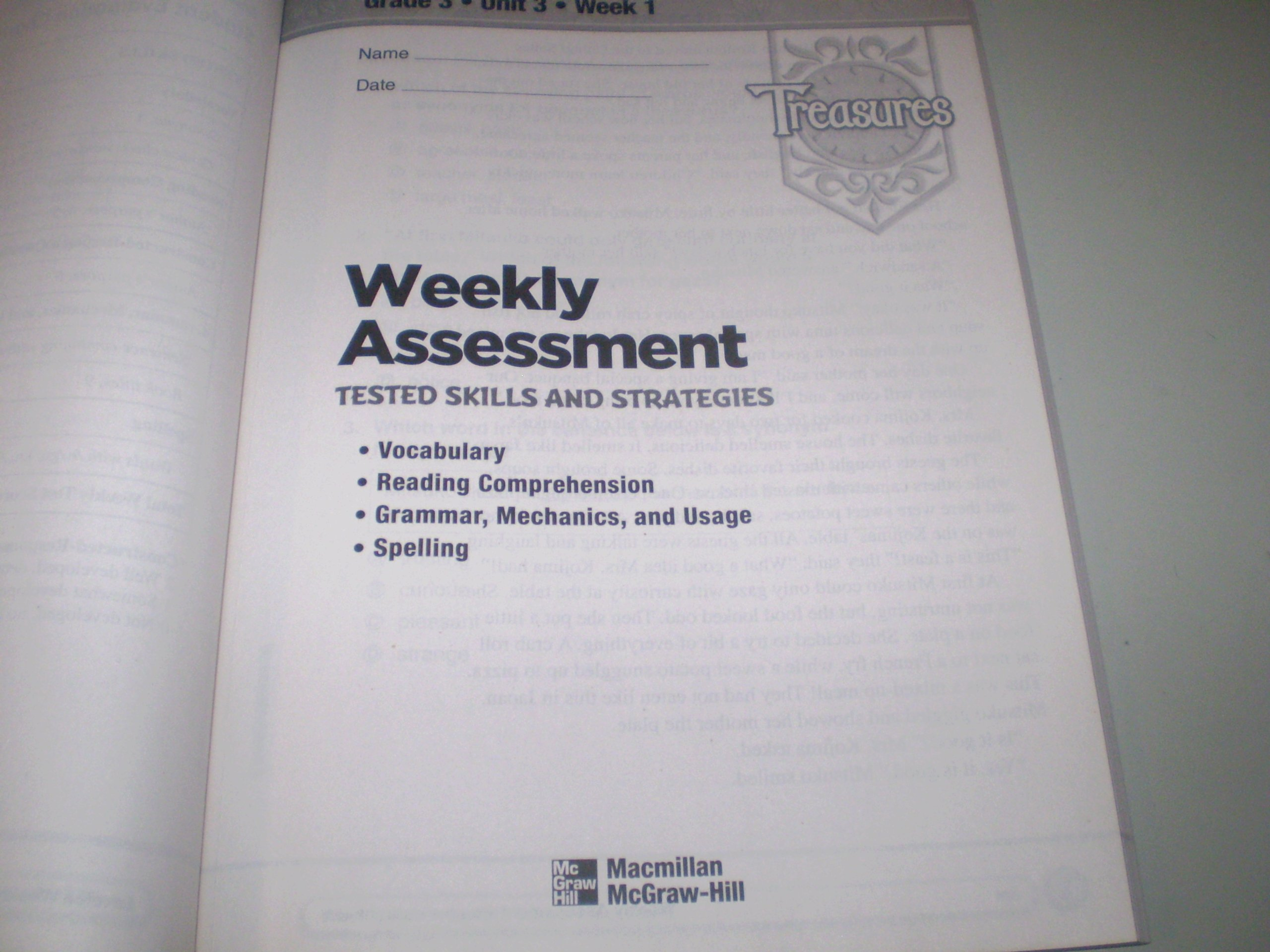 Weekly assessment treasures grade 3 macmillan 9780021939398 weekly assessment treasures grade 3 macmillan 9780021939398 amazon books fandeluxe Choice Image