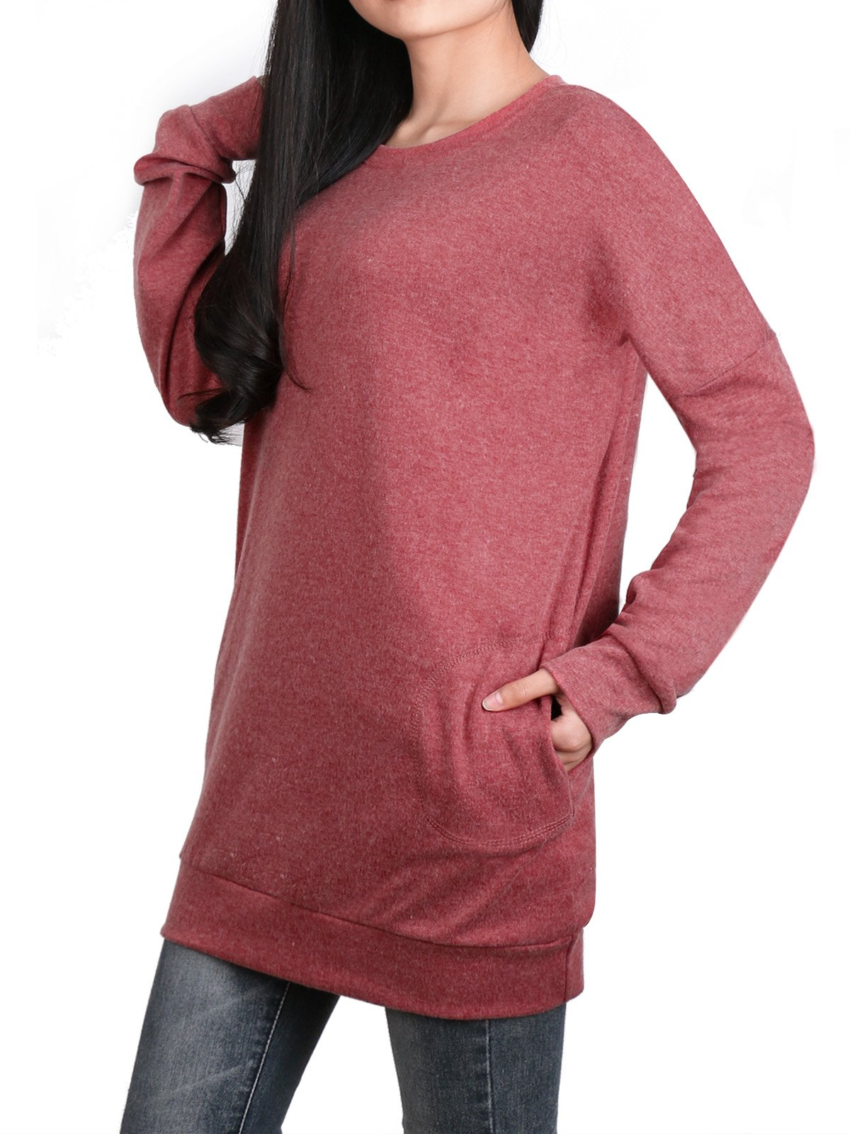 Anna Smith Cute Sweatshirts for Women, Work Clothing Ladies Long Sleeve Sweater Casual Plain Simple Designer Long Tunic Tops Rounded Collar Loose Pullover with Pockets Brownberry Dusty Pink XL