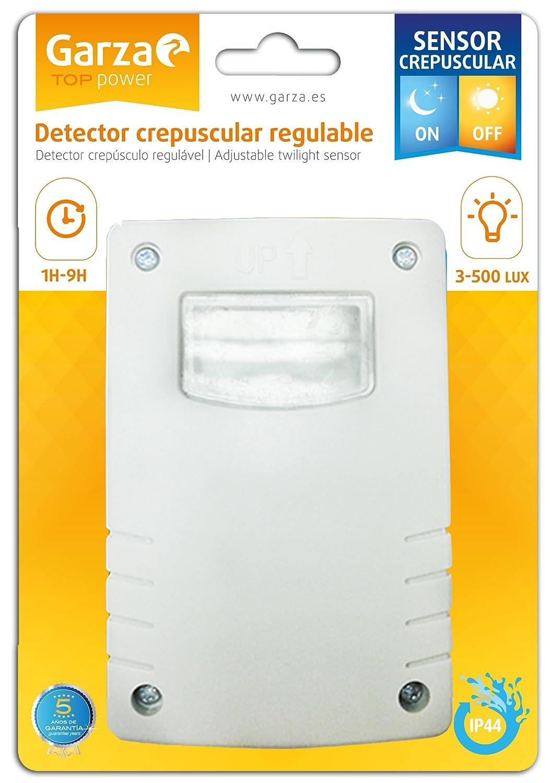 Garza Power - Detector Crepuscular Regulable Exterior, protección IP44, color Blanco: Amazon.es: Bricolaje y herramientas