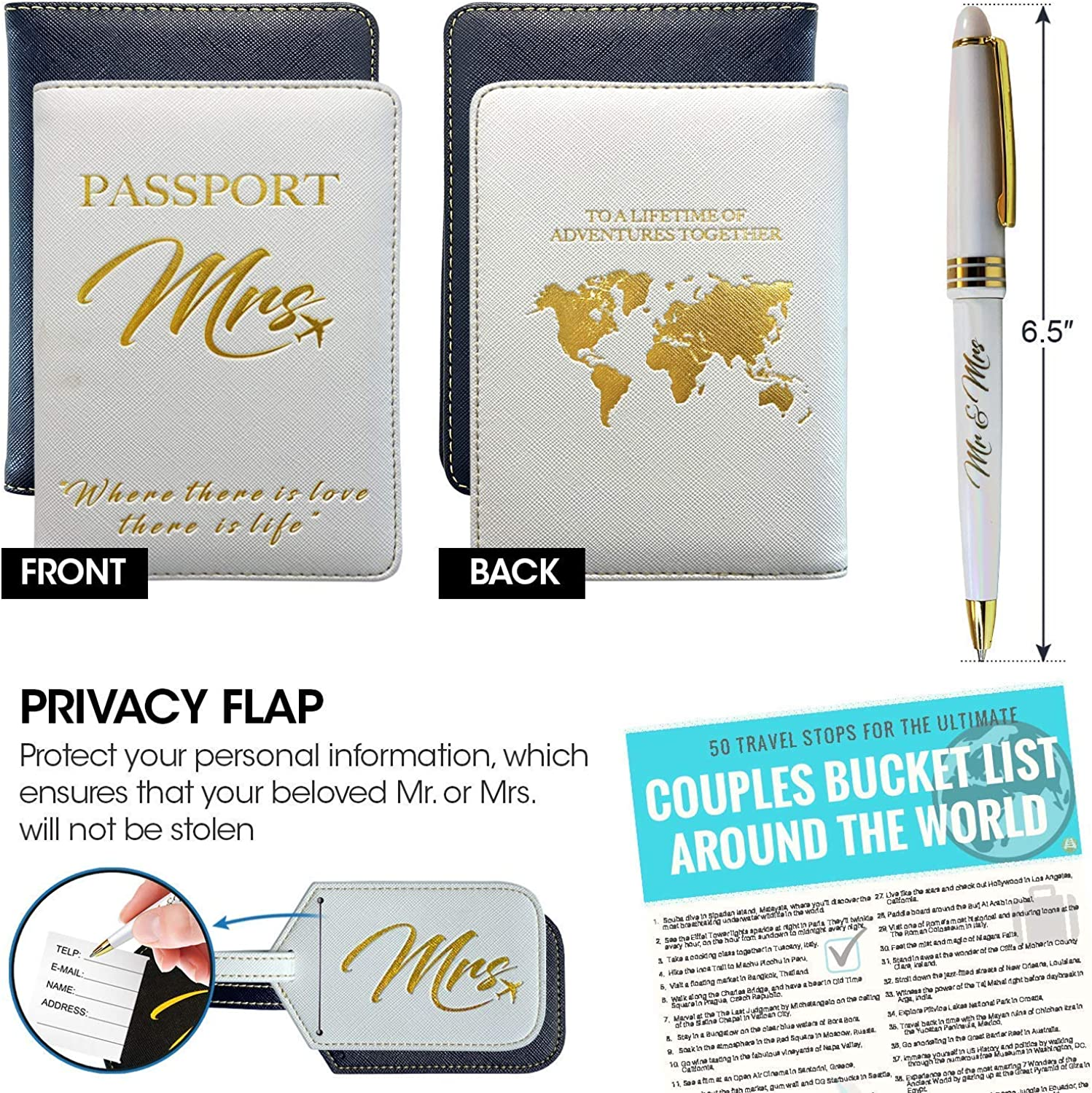 Honeymoon luggage mr and mrs luggage tags and passport holder memorable bridal shower giftsWedding gifts for coupleEngagement gi