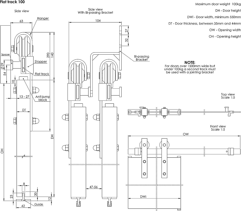 Coburn Flat Track 100 Trackset para una puerta de hasta 1 m de ancho, 100 kg. Perchas rectas, acabado en negro: Amazon.es: Bricolaje y herramientas