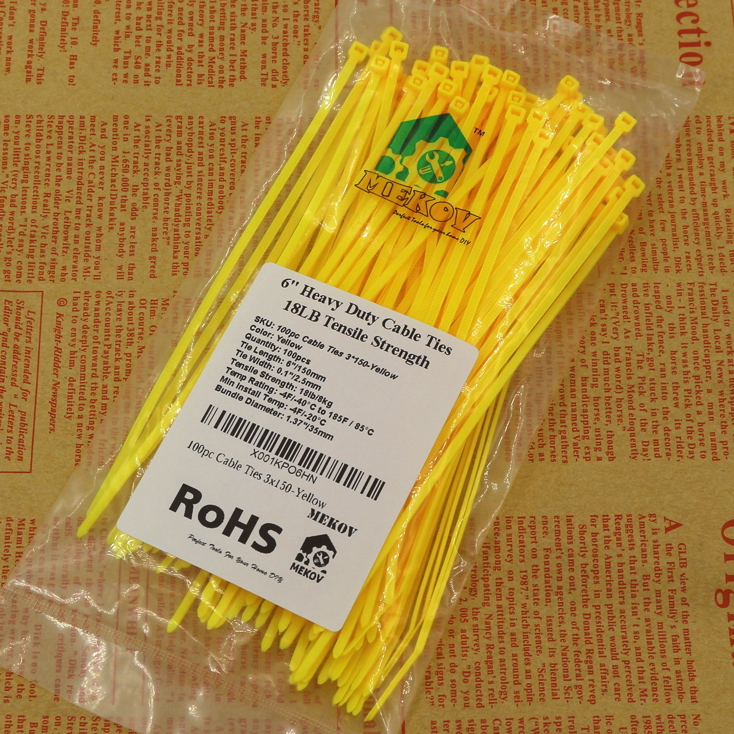 Nylon Cable Ties, Mekov, 6 Inch Heavy Duty Cable Ties, 18-LB Tensile Strength, Zip Ties with 0.1 Inch Width, Durable, Indoor & Outdoor use, UV Resistant (6'', 1000 Pack, Yellow) by Mekov (Image #6)