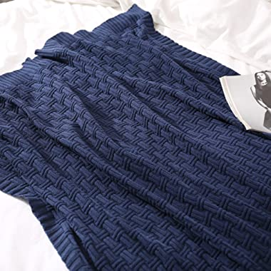 Treely 100% Cotton Cable Knit Throw Blanket for Couch Bed Sofa,Super Soft Warm Home Decorative Blankets(50 x 80 Inches,Navy)