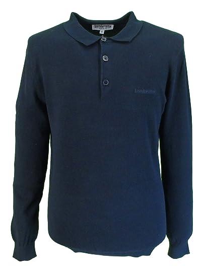 16de14a0 Lambretta Mens Navy Plain Knitted Long Sleeve Polo Shirt: Amazon.co ...
