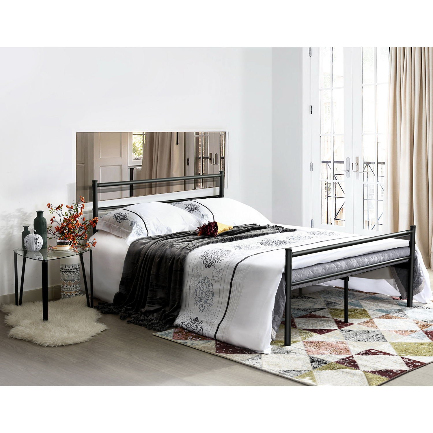 Aingoo Metal Double Bed Frame Durable And Large Db018 Black