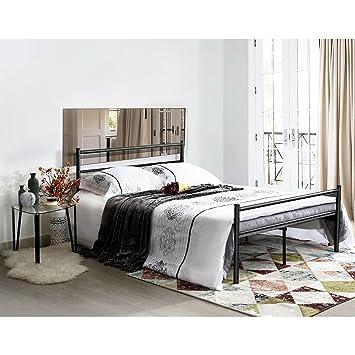 Aingoo Cama doble Marco de cama de metal sšlido 135x190, Negro ...
