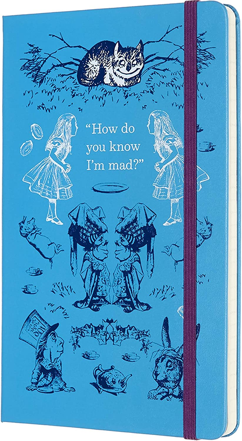 """Moleskine Limited Edition Alice In Wonderland 18 Month 2019-2020 Weekly Planner, Hard Cover, Large (5"""" x 8.25"""") Blue"""