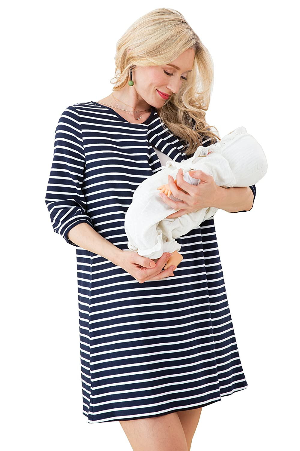 Sweet Mommy Maternity and Nursing Striped Cotton Tunic Dress Free Size Sweet Mommy Co. Ltd. so2047