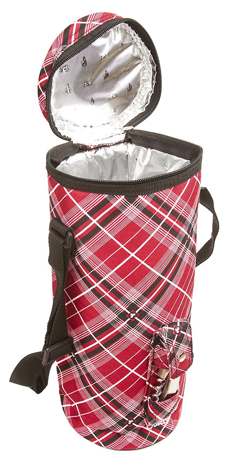 Observ Insulated Wine Tote Bag Wine Bottle Carrier with Bottle Opener Observ Life WBR Red