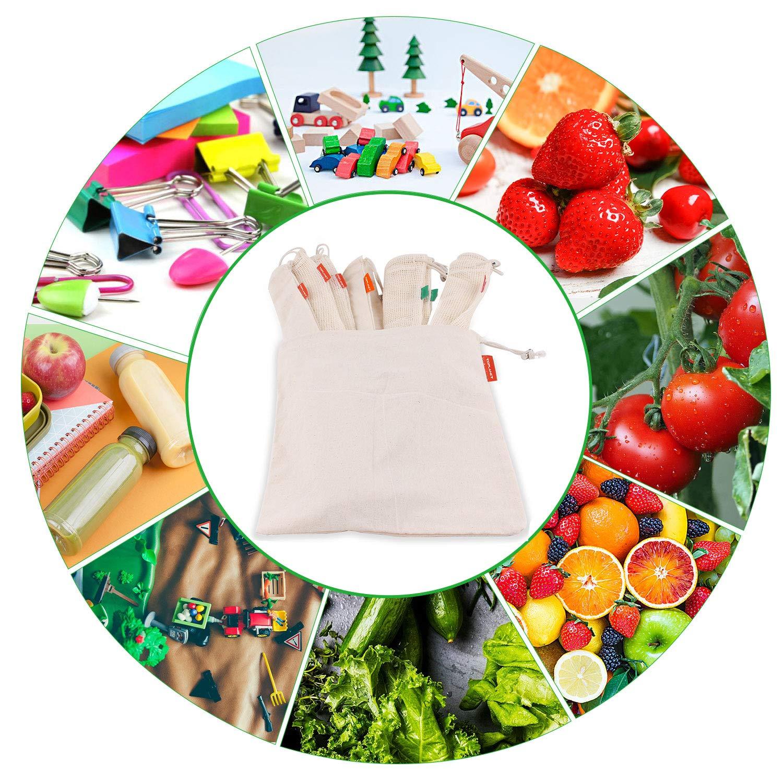 TOPLANET 8*PCS Bolsas de Vegetales y Fruta Algodon Organico Bolsas Lavable Reutilizable de Producir Bolso para Compras//Almacenar//Viajar