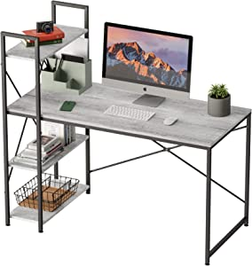 Bestier Computer Desk with Storage Shelves 47 Inch Home Office Desk Writing Table (Wash White, 47 Inch)