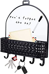 HIGIINC Wall Mount Key Holder 5 Hooks, Self-Adhesive Mail sorter Organizer with Magnetic Dry Erase Board, Key Envelope entryway for Home and Office (Black)