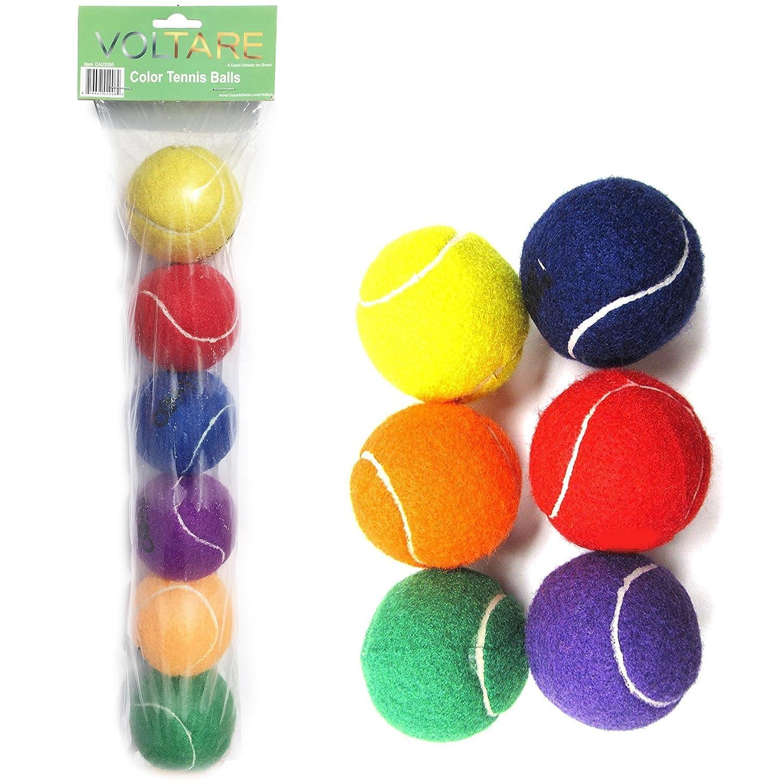 Voltare Color Tennis Ball Set   Green Orange Yellow Purple Red Blue Tennis Balls   6 Pack