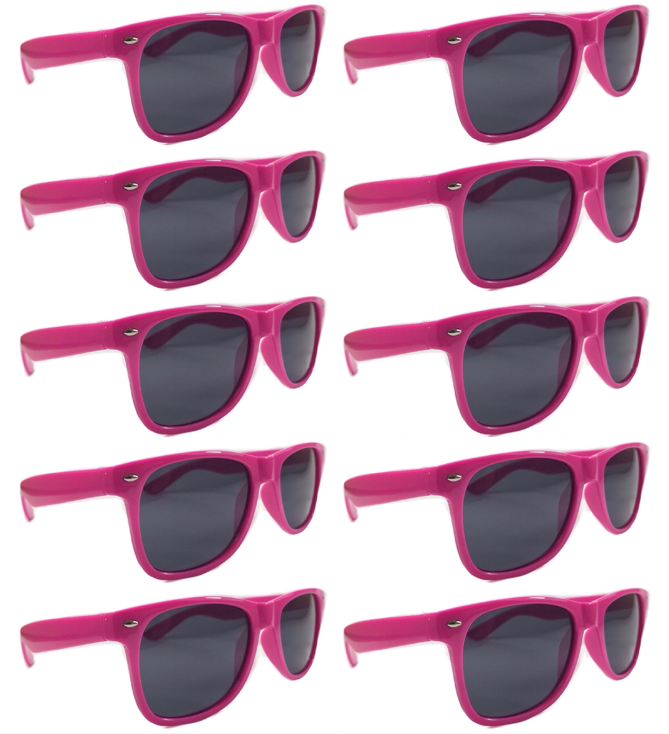 BULK UNISEX SUNGLASSES- Retro Neon Party Style (Weddings, Promotions, Birthdays) (Hot Pink)