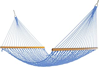 product image for Nags Head Hammocks NH13CHB Double Coastal Blue Duracord Rope Hammock with Free Extension Chains & Tree Hooks, Handcrafted in The USA, Accommodates 2 People, 450 LB Weight Capacity, 13 ft. x 55 in.